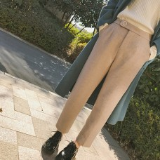 chic高腰毛呢阔腿裤女学生宽松休闲装西装九分裤