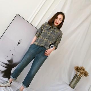 春韩版复古格子蝴蝶结系带长袖衬衫女中长款学生宽松上衣