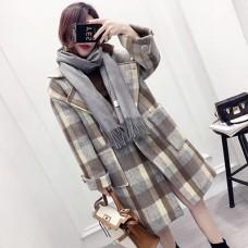 冬季韩版单扣格子翻领毛呢外套女装中长款加厚宽松呢大衣