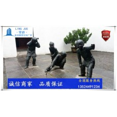 揭陽小孩放炮竹雕塑-生活小品人物雕塑