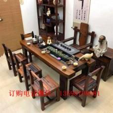 老船木茶桌 实木简约功夫茶艺桌老船木龙骨茶桌椅组合