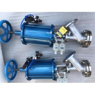 气动带手动装置不锈钢上展式放料阀 气动304下展式放料阀